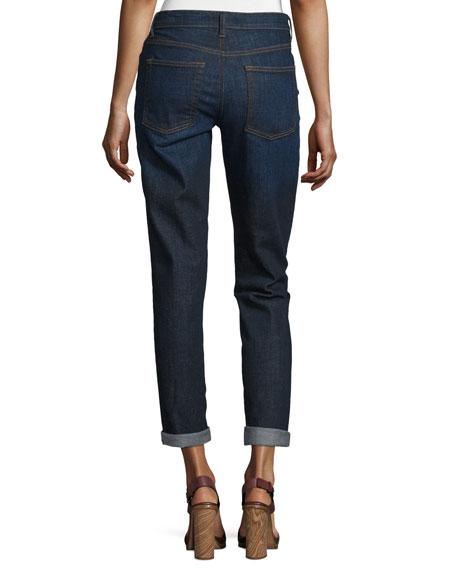 Slim-Leg Cropped Boyfriend Jeans, Deep Indigo