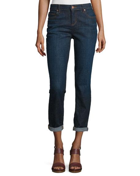 Eileen Fisher Slim-Leg Cropped Boyfriend Jeans, Deep Indigo