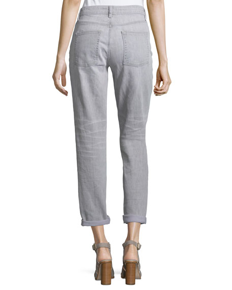 Eileen Fisher Slim-Leg Cropped Boyfriend Jeans, Vintage Gray