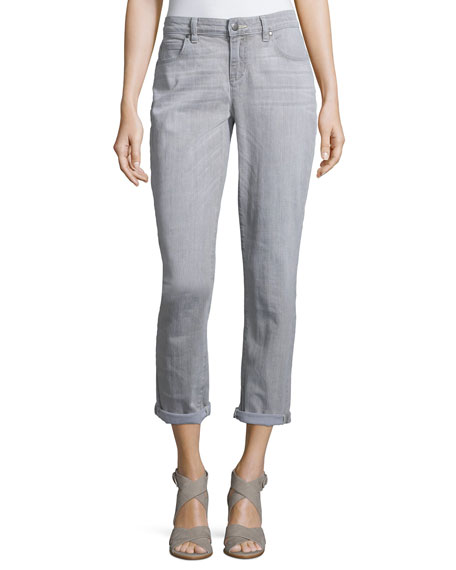 Eileen Fisher Slim-Leg Cropped Boyfriend Jeans, Vintage Gray
