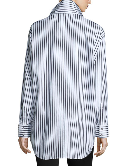 Striped Cotton Big Shirt, Petite