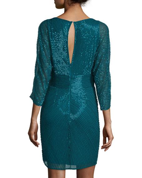 3/4-Sleeve Beaded Cocktail Dress, Teal