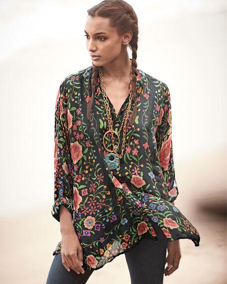 Emby Button-Front Floral-Print Blouse, Black/Multi