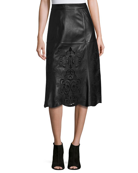 Neiman Marcus Embroidered Floral Laser-Cut Leather Midi Skirt,