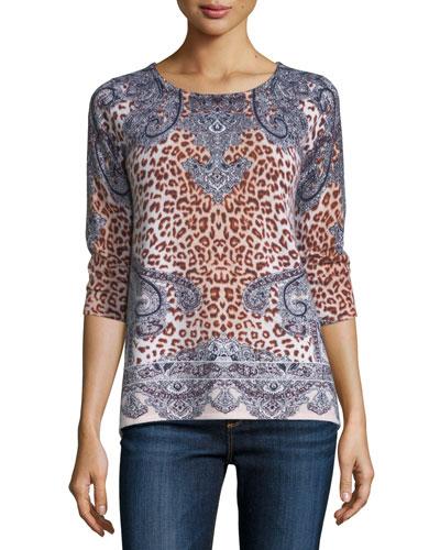 Superfine Half-Sleeve Bohemian Cashmere Tunic, Azure Multi