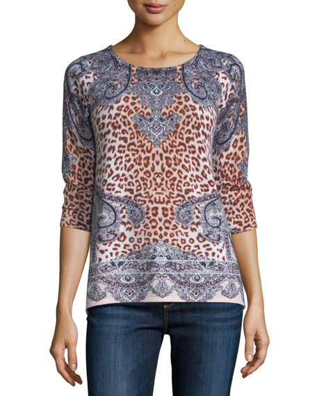 Neiman Marcus Cashmere Collection Superfine 3/4-Sleeve Bohemian