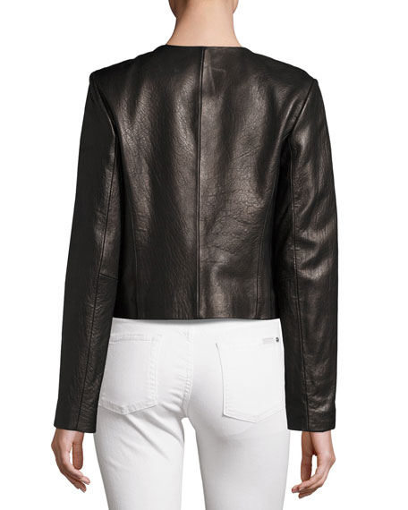 Neiman Marcus Collarless Cropped Pebbled Leather Jacket, Black