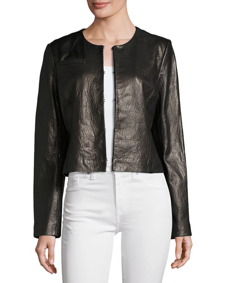Neiman Marcus Collarless Cropped Pebbled Leather Jacket ...