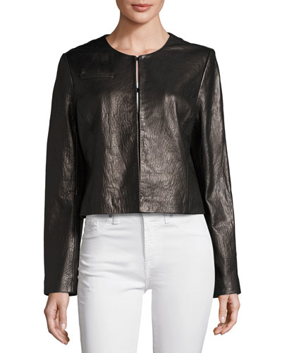 Collarless Cropped Pebbled Leather Jacket, Black