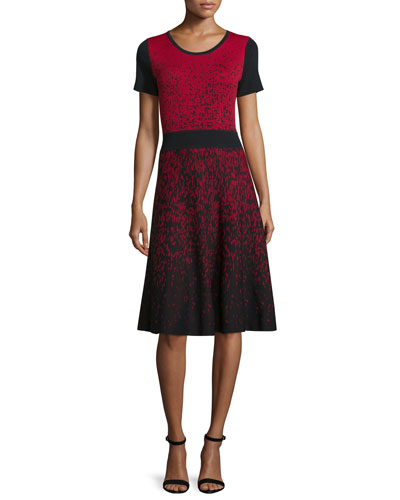 Short-Sleeve Ombre Fit-&-Flare Dress, Black/Red