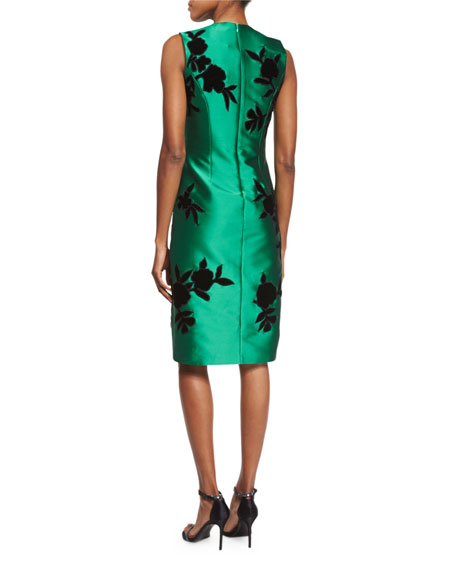 Sleeveless Embroidered Cocktail Dress, Emerald