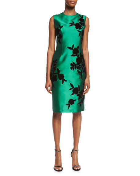 Sachin & Babi Sleeveless Embroidered Cocktail Dress, Emerald