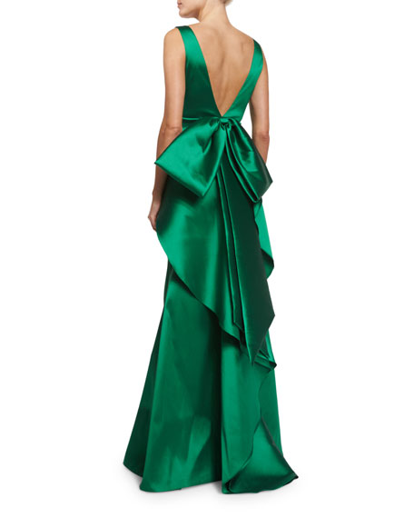 Sleeveless Ruffle-Trim Satin Gown, Emerald