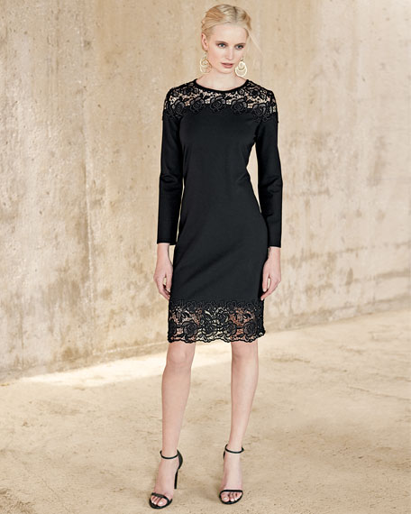 Long-Sleeve Lace-Inset Sheath Dress, Black Lace