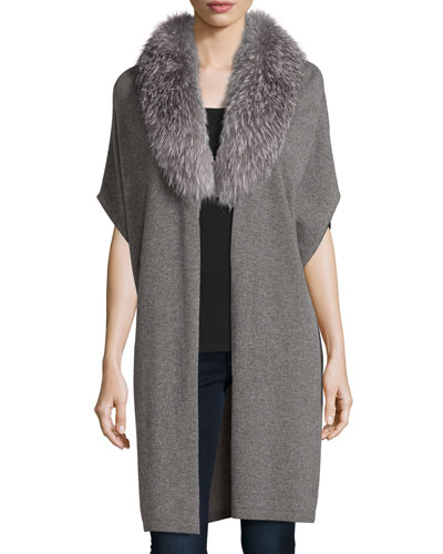 Cashmere Fox Fur-Trim Cardigan