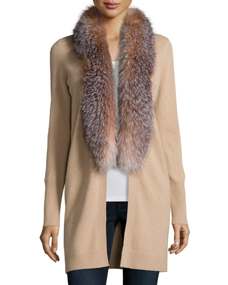 Neiman Marcus Cashmere Collection Cashmere Fox Fur Collar