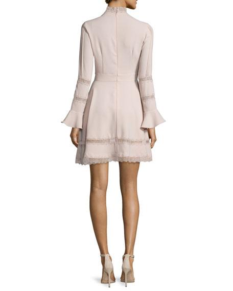 Lace-Inset Keyhole-Front Dress