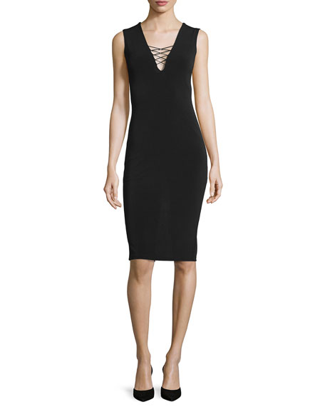Alice + Olivia Asha Lace-Front Sheath Dress, Black