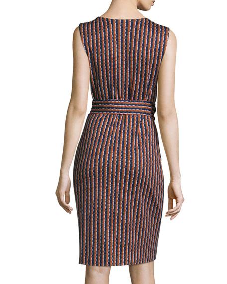 Ashlie Sleeveless Rickrack Stripe Silk Dress, Khaki/Orange/Midnight