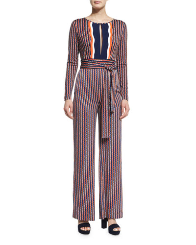 Starla Long-Sleeve Rickrack Stripe Jumpsuit, Khaki/Midnight/Orange