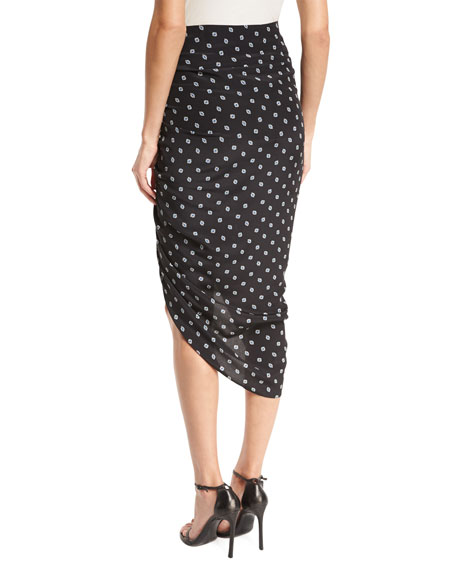 Ari Ruched Silk Polka-Dot Skirt, Black