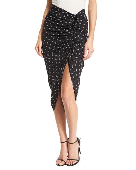Ari Ruched Silk Polka-Dot Skirt, Black