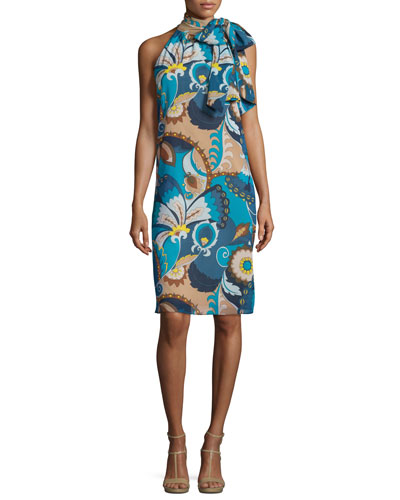 Sleeveless Floral Tie-Neck Shift Dress, Blue/Multicolor