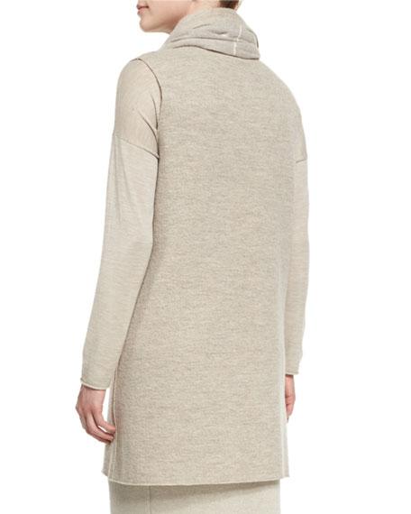Boiled Wool Long Vest, Plus Size