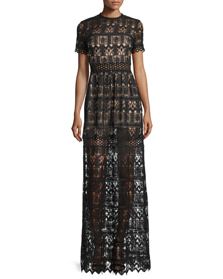 Alexis Phillipa Short-Sleeve Lace Maxi Dress, Black