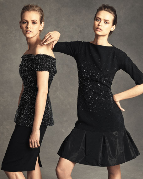 Off-the-Shoulder Beaded Tulle & Crepe Peplum Dress, Black Smoke