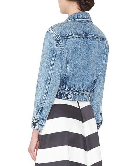 Chloe Cropped Denim Jacket w/ Patches, Blue