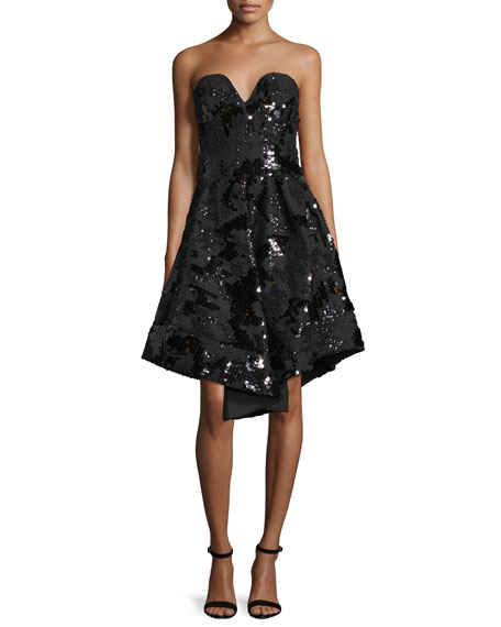 Milly Strapless Sequined Cocktail Dress, Black
