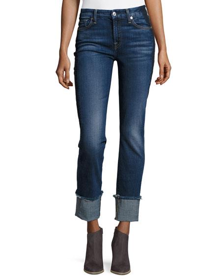 Fashion Cuffed Boyfriend Jeans w/Raw-Edge Hem, Blue