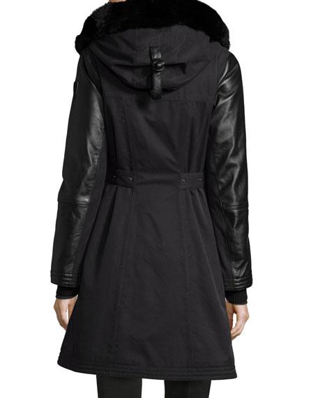 Ajin Brushed Twill Fur-Trim Swing Coat, Black