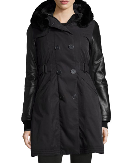 Nobis Ajin Brushed Twill Fur-Trim Swing Coat, Black