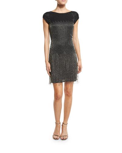 Cap-Sleeve Beaded Fringe Cocktail Dress, Black