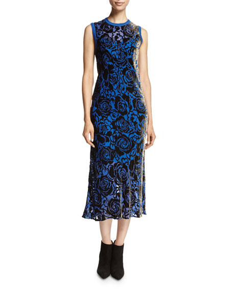 DKNY Sleeveless Floral Velvet Midi Dress, Blue