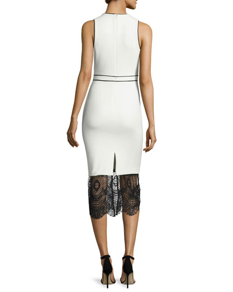 Hestia Lace-Hem Sleeveless Sheath Dress, Ivory/Black