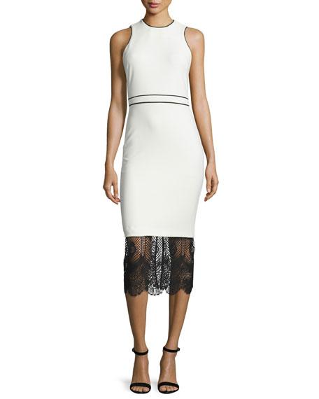 Hestia Lace-Hem Sleeveless Sheath Dress, Ivory/Black
