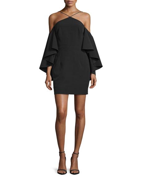 Milly Cold-Shoulder Bell-Sleeve Ponte Dress, Black