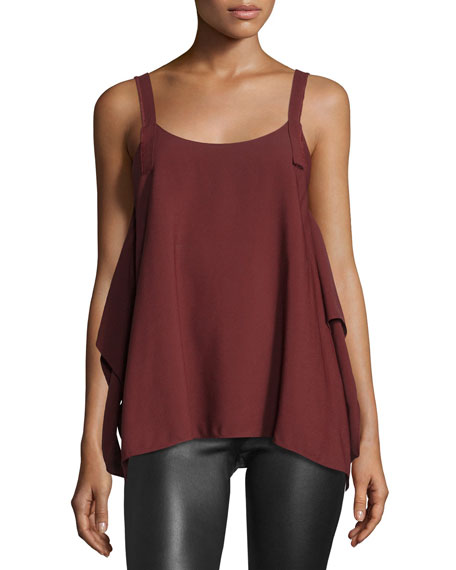 Draped Crepe Tank, Pomegranate