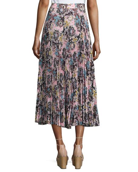 A.L.C. Williams Pleated Floral Midi Skirt, Blue/Mustard