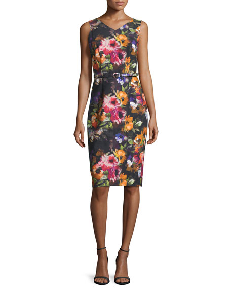 David Meister Sleeveless Floral Stretch Crepe Midi Dress,