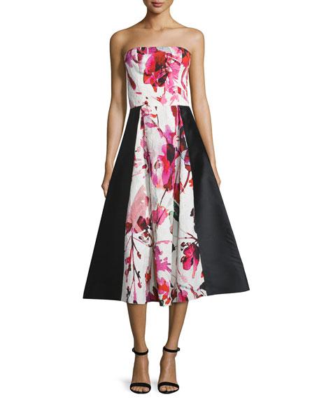 Sachin & Babi Noir Gweney Floral-Print Bustier Midi Gown, Magenta