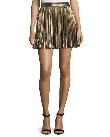 Pleated Lamé Mini Skirt, Gold
