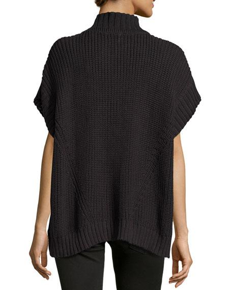 Katherine Zip-Front Sweater Poncho