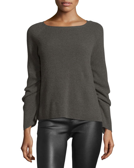 Ribbed Ruched-Sleeve Sweater