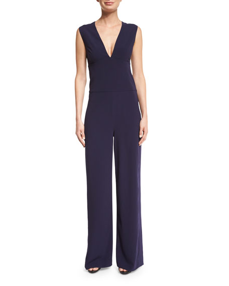 Halston Heritage Sleeveless V-Neck Jumpsuit, Midnight