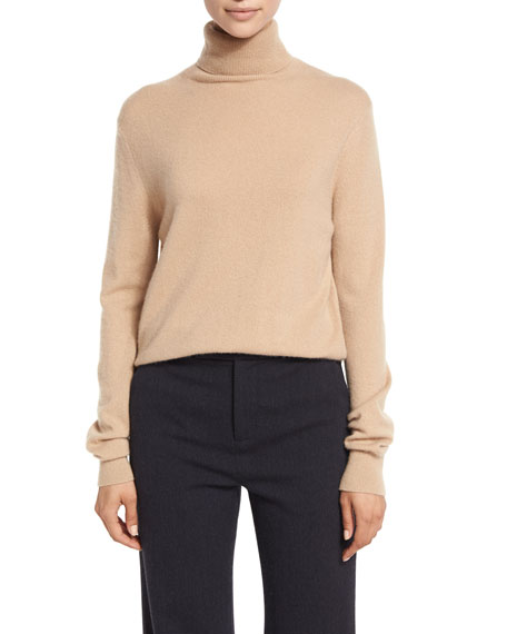 Vince Cropped Cashmere Turtleneck Sweater, Camel