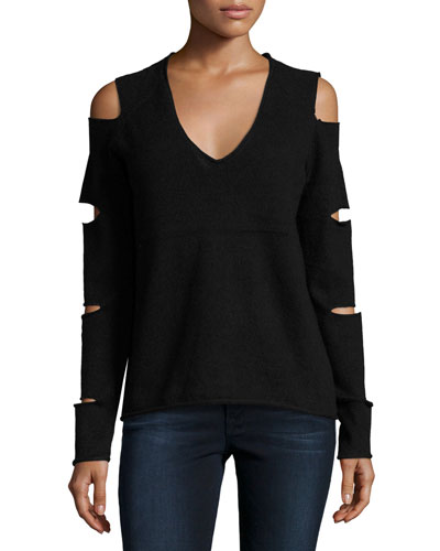 Tyrone Cold-Shoulder Cashmere Sweater, Black